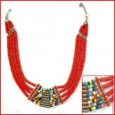 Blood color bone bone beaded necklace